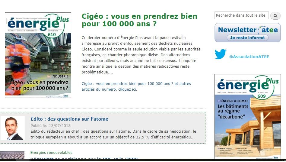 Capture d'écran du site web d'Energie Plus