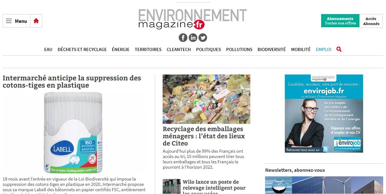 Capture d'écran du site web d'Environnement Magazine