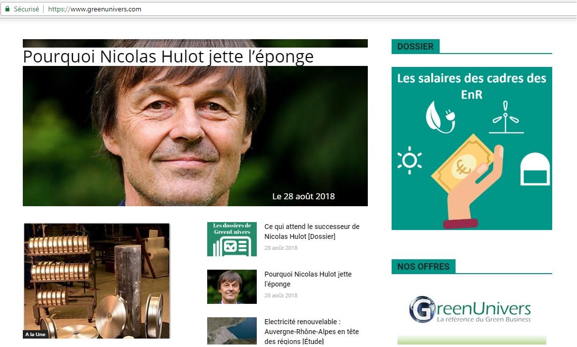 Capture d'écran du site GreenUnivers