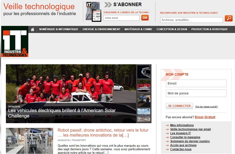 Capture d'écran du site web d'Industrie et Technologies